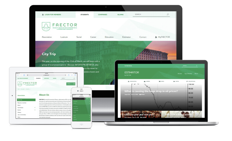 Premium responsive website FAECTOR voor telefoon, tablet, laptop en desktop